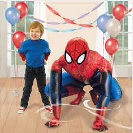 "Wholesale Decorated Balloons - 36"" Spiderman Iron Man Airwalker Foil Balloon Party Decorating Supplies Huge 91 cm SPIDERMAN Airwalker Elsa Mermaid Foil Helium Balloon"