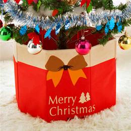 caixas de natal ornamentos atacado Desconto Atacado-Não-tecido Merry Christmas Tree Saia Caixa De Armazenamento Xmas enfeites de árvore de decoração de natal suprimentos para casa