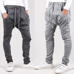 Wholesale Taper Pants Man - Wholesale-2016 Large parkour pants baggy tapered bandana hip hop dance harem sweatpants drop crotch pants men parkour sport track trousers