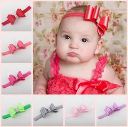 Wholesale Double Flower Baby Headbands - Childrens Hair Accessories Baby Girls Boutique Satin Bows Flowers Headbands Princess Double Bow Elastic Hairband Newborn Headwear rhinestone
