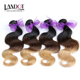 Wholesale Eurasian Wavy - 3Pcs Lot 8-30Inch Three Toned Ombre Eurasian Human Hair Extensions Body Wave Wavy 1B-4-27 Black Brown Blonde Ombre Virgin Hair Weave Bundles