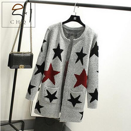 Wholesale Women Loose Fitting Sweaters - Wholesale- New spring autumn women cardigan loose-fitting warm long knitted sweater female star printed cardigan sweater lady