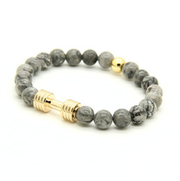 Wholesale Wholesale Silver Platinum Rings - Wholesale Real Gold&Platinum Plated Metal New Barbell & 8mm Grey Picture Jasper Stone Fitness Fashion Dumbell Bracelets