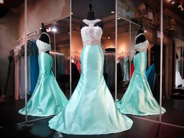 Wholesale Mint Green Girl Dress Fashion - 2016 New Evening Dresses Prom Formal Pageant Gown Black Girl With Mermaid Scoop Sexy Back Mint Lace Satin Beads Crystals Sweep Train Cheap
