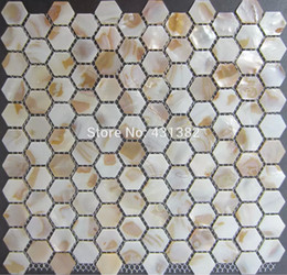 Hexágono azulejo perla, madre de la perla costura hexagonal en malla 25MM, cocina placa para salpicaduras de azulejos y mosaico de la ducha baño desde fabricantes