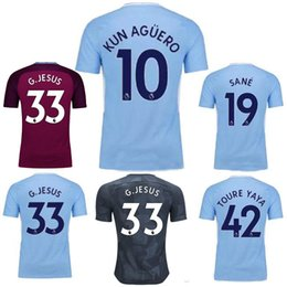 Wholesale Premier League Football Jerseys - Top Thai quality 2017 Premier League football Shirt 2017 2018 DZEKO KUN AGUERO KOMPANY TOURE YAYA DE BRUYNE adult shirt SANE Soccer Jersey