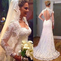 Wholesale Greek Style Dresses - 2016 Greek Style Lace Wedding Dresses Turkey Long Sleeve V-neck Sweep Train Covered Button Mermaid Bridal Gowns With Free Lace Long Veil