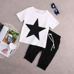 boys preppy suits Promo Codes - Fashion Kids Baby Boys Summer T-shirt Tops Harem Pants Outfits 2Pcs Clothing Set Black White Star Cotton Clothes 2-7T Preppy Casual Suit
