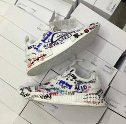 Wholesale Painting Fabrics - 2017 Hot Sale Vetements X NMD R1 Running Casual Shoes Top quality Real Boost Graffiti Painted Men Womens Outdoor Casual Shoes Size 36-45