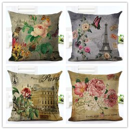 Wholesale Flower Pillow Pattern - Retro Flowers Butterfly View Pattern Cotton Linen Cushion Cover New Style Pillowcase Home Decor Bed Car Throw Pillows Decorative Cojines
