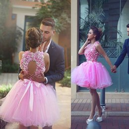 Wholesale Special Occasion Mini Dress - Open Back Short Prom Dresses 2016 Arabic Pink Tulle Flowers Pretty Evening Party Dresses Girls Special Occasion Wear Custom Made