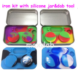 Wholesale Waxing Iron - Newest iron kit silicone jar 5ml wax container for wax Silicone container for wax glass bong