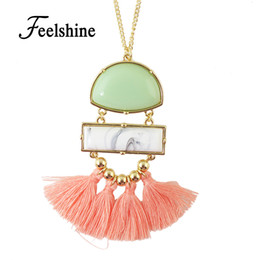 Wholesale Turquoise Tassel Necklace Jewelry - Wholesale-Boho Ethnic Jewelry Vivid Pendant Turquoise Necklace Long Gold Color Chain with Cute Tassel Pendant Necklace