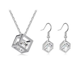 Wholesale Wholesale Asian Products - Hot Promotion 2014 New Product Happiness Cube Cubic Zirconia Necklace Pendants & Earring Fashion Jewelry Sets For Women Girls NO135