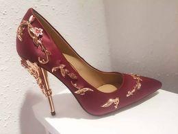 Wholesale Sexy Platform Wedding Sandals - New fashion Roman high heeled sandals sexy platform high heels women gold leaf wedges pumps big size EUR 34-42 dress shoes