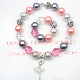 Wholesale Kids Silver Jewelry Sets - fashion jewelry white alloy ballet girl pendant pearl beads silver rhinestone beads chunky girl bubblegum kids Necklace&bracelet set
