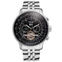 Relógios de aço inoxidável jaragar on-line-Relógios mecânicos automáticos homens de luxo automáticas TOURBILLON relógio inoxidável mens mecânica esporte relógios JARAGAR Relógios Atacado
