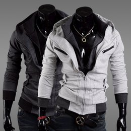En gros-Nouveau mode Assassin 's Creed 3 Desmond Miles Hoodie Veste Costume Cosplay Hoody Manteau Noir Dark Gay Light Grey ? partir de fabricateur