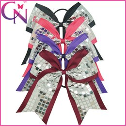 Wholesale Decorated Ribbon - 20 pcs lot Hot Sale 8 inch Large Sequin Bow Silver Sparkling Plaid Ribbon Decorating Fancy Double Layers Cheerleading Bows With Elastic Band