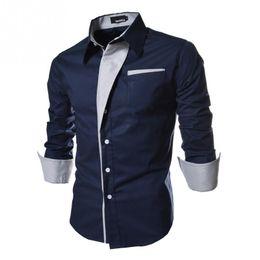 Wholesale Korean Dress Men Shirts - 2017 New Dress Fashion Quality Long Sleeve Shirt Men Korean Slim Design Formal Casual Male Dress Shirt