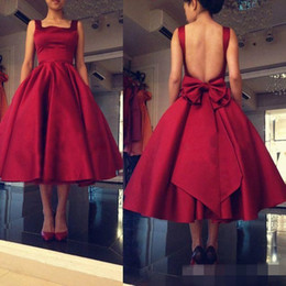 Wholesale Square Columns - Dark Red Tea Length Cocktail Dresses Little Red Square Neck Sexy Backless Formal Party Gowns Vintage Dresses With Bow Sash Under