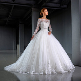 Wholesale White Ball Dress Sash - Elegant White Ball Gown Lace Wedding Dresses 2016 Long Sleeve Sheer Back With Sash Bridal Gown vestido de noiva robe de mariage