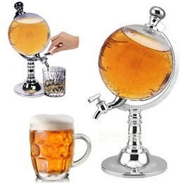 Wholesale Dispenser Beverage - 1000cc Abs Standard  Metal Creative Globe Shaped Beverage Liquor Dispenser Drink Wine Beer Pump Single Canister Pump Bar Tools