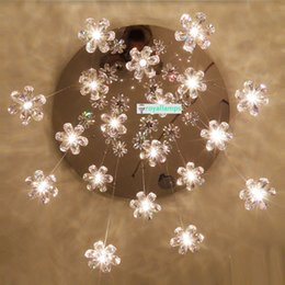 Candelabros de salón online-Lámparas de cristal modernas LED Villa Lobby Lounge Lámpara de comedor Escalera doble Luz de araña de cristal larga