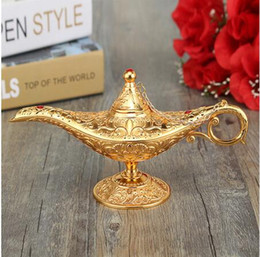 Wholesale Oil Lamp Lights - Newest Metal Carved Aladdin Lamp Light Wishing Tea Oil Pot Decoration Collectable Saving Collection Arts Craft Gift