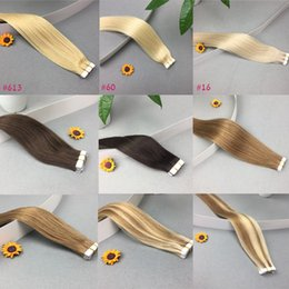 """Wholesale Brazilian Tape Hair Extensions - 20PCS Straight Tape In Remy Human Hair Extensions 16"""" 18"""" 20"""" Seamless Skin Weft Hair 9 Colors Avaiable Brazilian Indian Peruvian Hair"""