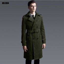 Wholesale Hooded Trench Outerwear - Wholesale- Hot Corduroy Trench Men 2016 overcoat long-sleeve slim olive design long outerwear plus size Business Casual jacket Coats S-XXXL