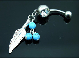 Пирсинг живота бесплатная доставка онлайн-Wholesale Blue  Leaf Dangle Belly Navel Rings Button Bar Clear Body Jewelry Piercings Free Shipping