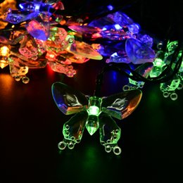Wholesale Butterfly String Decorations - Wholesale-Outdoor Lighting 4.8M 20LEDs Colorful Decoration Butterfly Luz Garland Waterproof Christmas Garden Outdoor Solar Lamp LED String