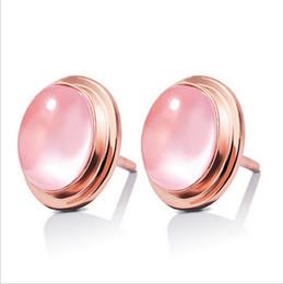 Wholesale Natural Plants - Heart new fashion female Korean natural QUARTZ moon of rose quartz earrings ladies fashion ear jewelry wholesale