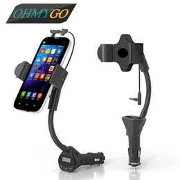 Wholesale Transmitter Stand - Universal Car Phone Holder Mount with USB Charger Handsfree FM Transmitter Stand Cradle for IPhone Samsung etc. 55-85mm Phones