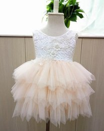 Wholesale Beaded Pink Girls Dress - Girls party dress summer new children beaded lace vest tulle tutu dress girls back V-neck tiered tulle cake dress kids princess dressesA9042