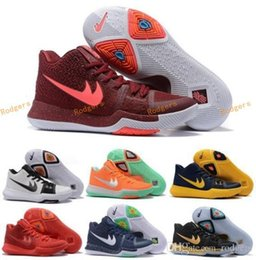 Wholesale Cycling Ties - New Kyrie Irving Black White Men Basketball Shoes Kyrie 3 Bright Crimson Tie Dye BHM All Star Basketball Sneakers High Quality Running Shoes