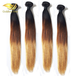 Wholesale Hair Weft 27 - Wholesale Three Tone Ombre Hair Straight Human Hair Weaving Top Quality T1B 4 27 Ombre Hair Extensions