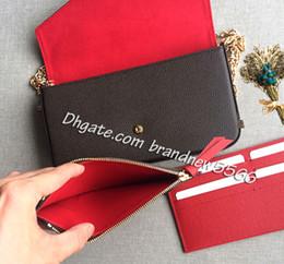 Canada Livraison gratuite 3 pièces femmes portefeuille portefeuille avec fermeture à glissière poche porte-carte Pochette Mini chaîne sac 64065 61276 Offre