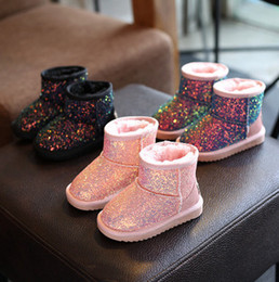Wholesale Wholesale Boots For Girls - Children snow booties glitter felt sequins thick bottom boots for kids pink black colorful warm winter boots girl princess shoes R0124