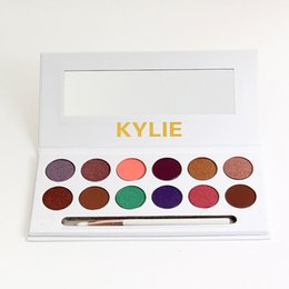Wholesale Peaches Setting - 2017 Kylie 12 Colors eye shadow kylie Royal Peach Palette Eyeshadow with Pen Brush dHL free shipping