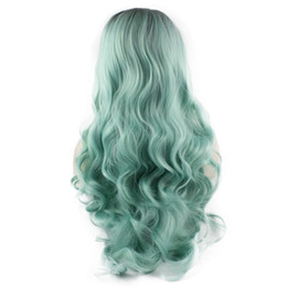 Wholesale Wig Light Blue Wavy - SF5 Front Lace Wig Ombre Dark Root Light Blue Wig, Ombre Synthetic Wavy Wig Blue Stylish Kanekalon Costume Party Wig Natural Hairline