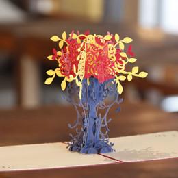 2019 cumprimentos do dia de mães 30 pcs Dobrável 3D Flowerpot Ofício Cortar A Laser Pop Up Artesanato De Papel Festival Favor de Festa E Presentes Cartão Cartão Postal ZA1251