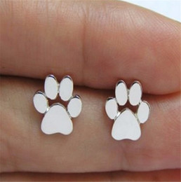 Wholesale Paws Heart - 925 Silver Plated Dog Paw Print Earrings Dog Cat Lovers Jewelry