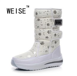 Wholesale Korean Red Tube - Wholesale- Winter New Korean Waterproof Boots-In-Tube Wedge Snow Boots Warm Thick Cotton Padded Shoes Women Rain Boots