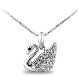 Wholesale Women Nickel Free Necklaces - JS N086 New Arrival Swan Necklace Silver Plated Necklaces Pendants Nickel Free Elegant Women Jewelry