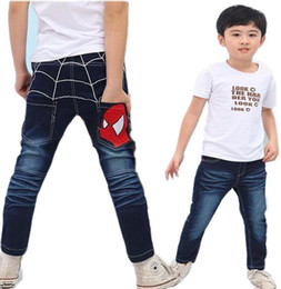 Wholesale Spiderman Trousers - Kids Jeans Pants Children Blue Denim trousers Baby Boy Clothes New Fashion 2016 Spiderman Pants