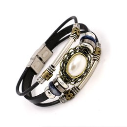 Wholesale Handmade Gemstone Bracelets - Fashion Stainless Steel Leather Bracelets Handmade Multilayer Alloy Beaded Pearl Gemstone Charm Bracelets Wristband For Women Jewelry Gifts