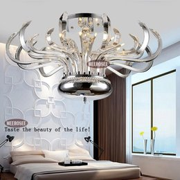 Wholesale Crystal Floral Chandelier Lighting - Modern Floral Crystal Chandelier Lights Crystal Lusters Lamp G4 Crystal Lighting Flush Mounted for Ceiling