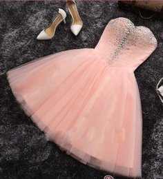Wholesale Peach Cocktails - Peach A Line Homecoming Dress Sparkly Sweetheart Short Prom Party Dresses with Crystal Mini Cocktail Dresses 2017 New Arrival